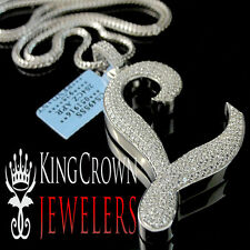 Real 14k White Gold On Silver Micro Pave Simu Diamond Initials Letter L Pendant