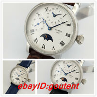 42mm PARNIS white dial Moon Phase GMT hand winding movement mens watch54