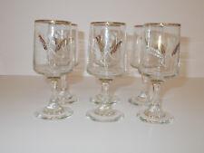 6 x Dema Sherry Glasses Wheat Design Gold Guild Top Edge 70ml Lovely