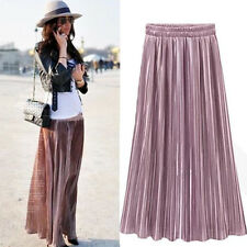 Retro Women Double Layer Pleated Long Maxi Dress Elastic Waist Skirt