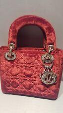 Christian Dior Cranberry  Satin Swarovski Crystal Embellished Evening Bag