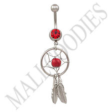 B104 Red Ruby Dreamcatcher Dream Catcher Belly Navel Ring Feather Bead Surgical