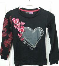 DESIGUAL Sweatshirt Pailletten Herz Schwarz Gr. 146 152 (GE61)
