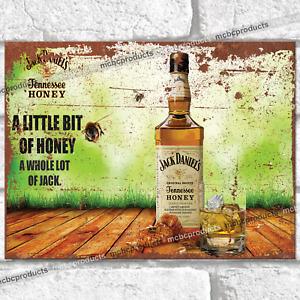 LITTLE BIT OF HONEY Metal Signs Jack Daniels Garage Shed Wall Plaque Tin Sign UK
