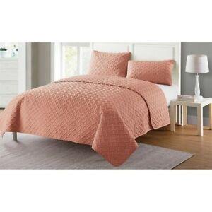 VCNY Home Nina Solid Basketweave Quilt Set 3pcs King Rose