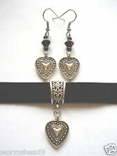 Victorian Gothic heart pendant black velvet choker & black glass earrings set