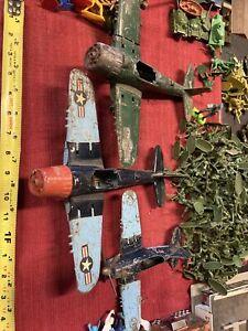 Vintage Hubley Kiddie Toy WWII Die Cast Planes 1950s 3for1 Parts/repair Resto 👀