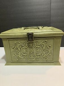 1970s Max Klein Sewing Box Tray Faux Wood Avocado Green Plastic Storage