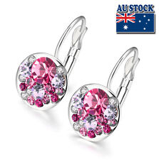 White Gold Filled Elegant Pink Colorful Earrings Round Swarovski Crystals