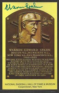 Warren Spahn Autograph on HOF Plaque