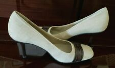 Bandolino Canvas Cream Pumps with Leather Buckle Trim Stacked Heel Size 10 M