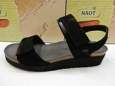 Naot Womens Aisha Black Velvet Nubuck Black Madras Leather Size Eu 41