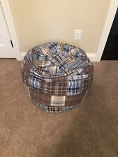 Pottery Barn Kids Bean Bag Multi Color Blue Brown Lightly Used Boys Chair Lounge