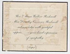 1933 ANS Wm. ROCKWELL Union Theological Seminary Sympathy Acknowledgement Card