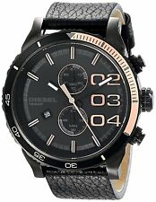 DIESEL DOUBLE DOWN BLACK+ROSE GOLD TONE,BLACK LEATHER BAND,CHRONO. WATCH DZ4327
