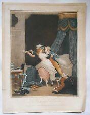 Gravure originale imprimé couleur -La Rose mal défendue - Debucourt - 1791