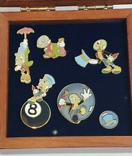 Authentic Disney 6 pin Wooden Boxed Set Jiminy Cricket Pinocchio 24075 le2500