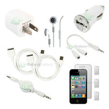 10pc NEW 2X USB Cable+Car/Wall Charger+Headset for Apple iPhone 4 4G 4S 200+SOLD