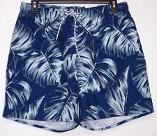 NWT Men's St Johns Bay Swim Trunks Shorts Elastic Waist Drawstring Blue Palm  L