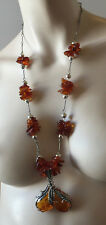 Vintage Necklace 2 Drop Baltic Honey Amber Beads Sterling Silver 925 66 Gs 28 L