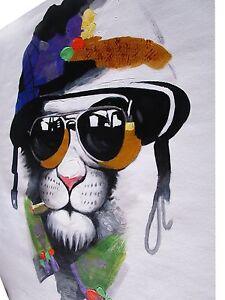 "canvas Street Art Print Pussy Cat mafia painting 47"" x 32"" large"