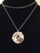 $55 Betsey Johnson Cat Caviar Anchors Away Locket Silvertone Necklace BK 30