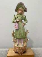 Antique German Carl Schneider Bisque Porcelain Figurine Woman Holding Bag Purse