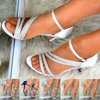 Womens Mid Heel Evening Shoe Sandals Wedding Bridesmaid Satin Sparkly Rhinestone