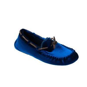 Ruby Brown Damen Hausschuh Halbschuh Textil Samt Blau