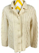 Paul James England Ivory Cable Knit Cardigan Wool Sweater Fisherman Women's M