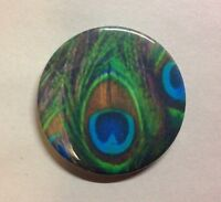 "PEACOCK FEATHER Button Badge 2.25"" Pinback Pin Bird Jewelry NEW"