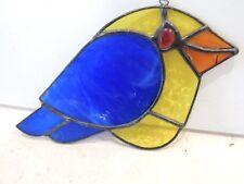 Vintage blue bird parrot stained glass lead window ornament suncatcher