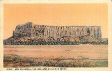 Fred Harvey Linen Postcard Mesa Encantada/ Enchanted Mesa Acoma NM Cibola County