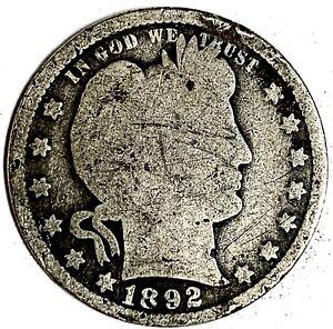 1892 United States Silver Barber Quarter - G
