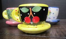 Mary Engelbreit mini teacups cherries & more! set of three attached saucers