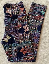 LuLaRoe Disney Leggings OS MINNIE MOUSE BOWS Navy Pastels Aztec Multicolored NWT
