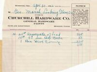U.S. Churchill Hardware Co. Roseburg 1912 Arsonate of Lead Etc Invoice Ref 42646