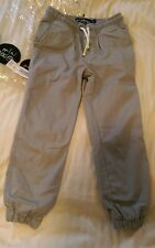 Mini Boden Lined woven cotton canvas pull ons pants joggers 4 Gray BNIP