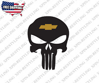 Punisher With Chevy Logo Decal Sticker Chevrolet