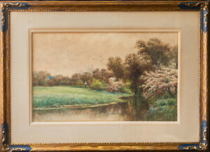 "Paul Sawyier (1865 - 1917) New York/Ohio Artist Watercolor ""River Landscape"""