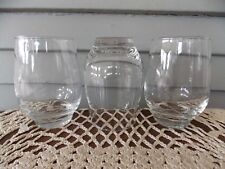 """Set of 3 Vintage Libbey Clear Glass Roly Poly Water Glasses Tumblers 4 1/2"""" Tall"""