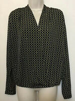 Michael Kors Women's Small Blouse Black Gold Long Sleeve Faux Wrap Stretch Top