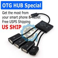 4 in 1 Micro USB Hub OTG Charging Cable Extension Adapter Android Samsung Tablet