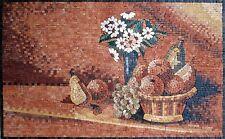 "28""x 18"" Handmade Kitchen Backsplash Fruit Design Home Art Decor Marble Mosaic"