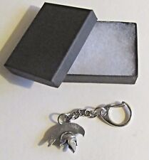 F) KEY-RING PEWTER GREEK SPARTAN ARMY SOLDIERS HELMET HAT MILITARY UNIFORM