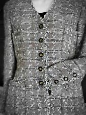 AUTH. VINTAGE CHANEL MOST WANTED TWEED METALLIC JACKET GREY/BEIGE CC BUTTONS 38