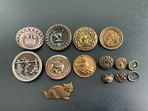 Lot of (14) Antique Vintage CAT Buttons - BUTTON AUCTION #1