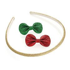 GLITTER HEADBAND & BOW CLIP HAIR SET GOLD GREEN RED HEAD BAND CHRISTMAS FASHION