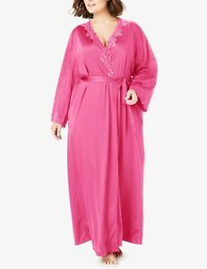 Only Necessities Plus Size Peony Petal Long Peignoir & Robe Set Size 5X(38/40)
