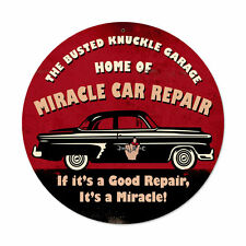 Busted Knuckle garage Home of Miracle car repair Retrò SIGN IN LAMIERA SCUDO SCUDO